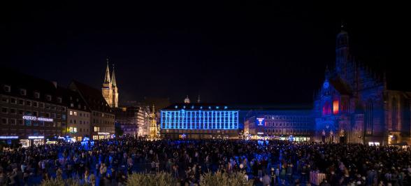 Die Blaue Nacht 2018, Mavi Gece, Nürnberg, Hauptmarkt